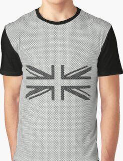 UK Flag Union Jack in Carbon Fiber White with Black Graphic T-Shirt