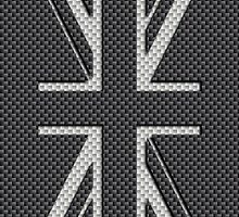 UK Flag Union Jack in Kevlar Carbon Fiber White on Black by podartist