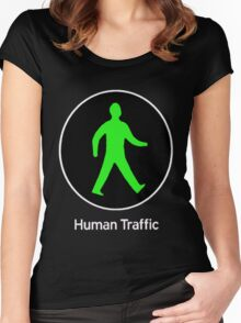 Human Traffic black Women's Fitted Scoop T-Shirt