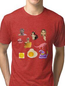 Random Collage Kurt Cobain Egg Dinosaur Tri-blend T-Shirt