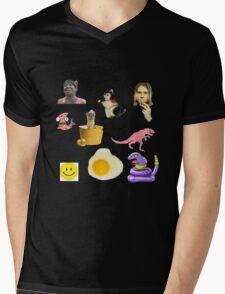 Random Collage Kurt Cobain Egg Dinosaur Mens V-Neck T-Shirt