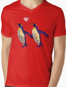 Penguins in Love Mens V-Neck T-Shirt