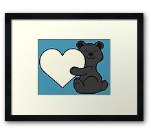 Valentine's Day Black Bear with Cream Heart Framed Print