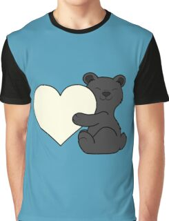 Valentine's Day Black Bear with Cream Heart Graphic T-Shirt