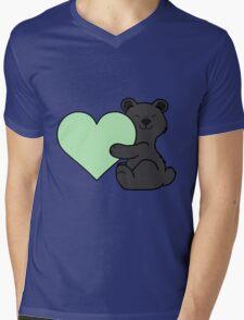 Valentine's Day Black Bear with Light Green Heart Mens V-Neck T-Shirt