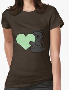 Valentine's Day Black Bear with Light Green Heart Womens Fitted T-Shirt