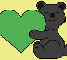 Valentine's Day Black Bear with Green Heart by Grifynne
