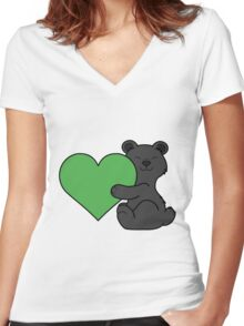 Valentine's Day Black Bear with Green Heart Women's Fitted V-Neck T-Shirt