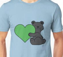 Valentine's Day Black Bear with Green Heart Unisex T-Shirt