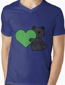 Valentine's Day Black Bear with Green Heart Mens V-Neck T-Shirt