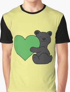 Valentine's Day Black Bear with Green Heart Graphic T-Shirt