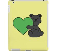 Valentine's Day Black Bear with Green Heart iPad Case/Skin