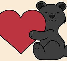 Valentine's Day Black Bear with Red Heart by Grifynne