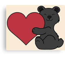 Valentine's Day Black Bear with Red Heart Canvas Print