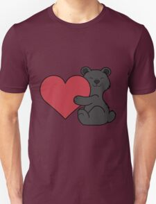 Valentine's Day Black Bear with Red Heart Unisex T-Shirt