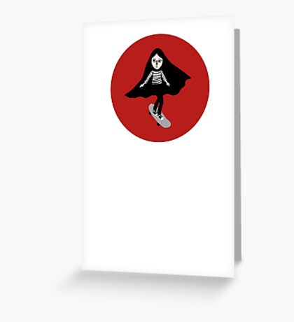 A girl walks home alone at night. Greeting Card