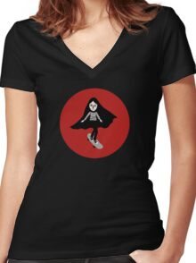 A girl walks home alone at night. Women's Fitted V-Neck T-Shirt