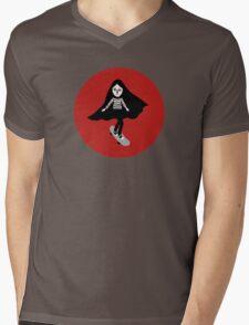 A girl walks home alone at night. Mens V-Neck T-Shirt