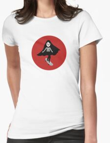 A girl walks home alone at night. Womens Fitted T-Shirt