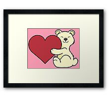Valentine's Day Kermode Bear with Red Heart Framed Print