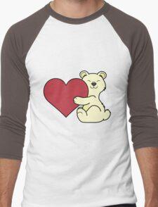 Valentine's Day Kermode Bear with Red Heart Men's Baseball ¾ T-Shirt
