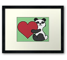 Valentine's Day Panda Bear with Red Heart Framed Print