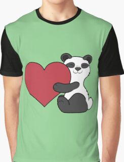 Valentine's Day Panda Bear with Red Heart Graphic T-Shirt