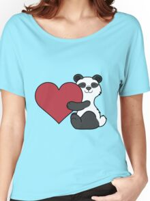 Valentine's Day Panda Bear with Red Heart Women's Relaxed Fit T-Shirt