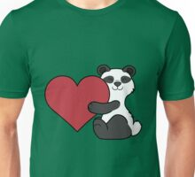 Valentine's Day Panda Bear with Red Heart Unisex T-Shirt