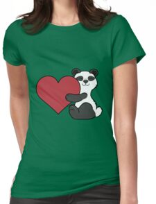 Valentine's Day Panda Bear with Red Heart Womens Fitted T-Shirt