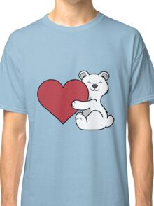 Valentine's Day Polar Bear with Red Heart Classic T-Shirt