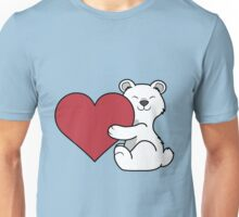 Valentine's Day Polar Bear with Red Heart Unisex T-Shirt