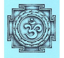 Ohm Yantra - blue Photographic Print