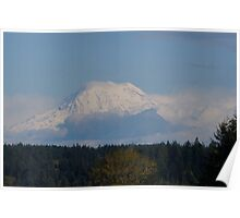 Snow capped Mt. Rainier Poster