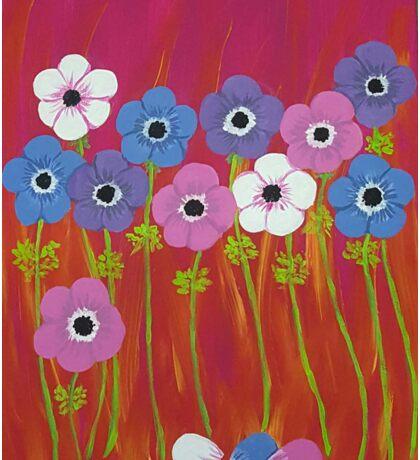 Anemones - Spring flowers, pink, blue purple & white Sticker