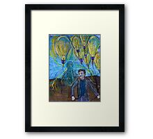 Nikola Tesla Freeing the light bulb balloons Framed Print