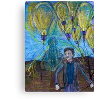 Nikola Tesla Freeing the light bulb balloons Canvas Print