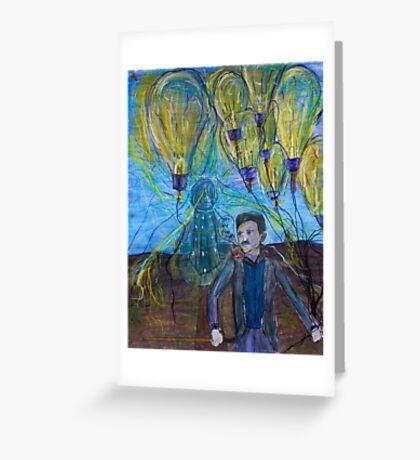 Nikola Tesla Freeing the light bulb balloons Greeting Card
