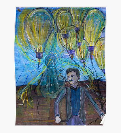 Nikola Tesla Freeing the light bulb balloons Poster