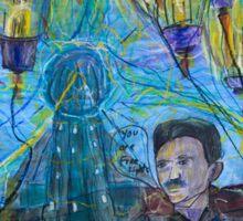 Nikola Tesla Freeing the light bulb balloons Sticker