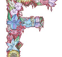Floral Letter F by Hannah Ferris