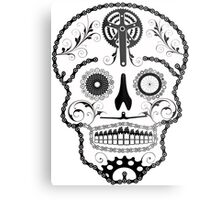 Cogs and Chains skull Metal Print