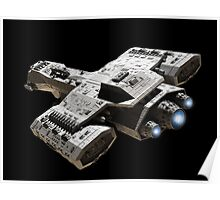 Spaceship on Black with Blue Engine Glow Poster