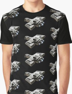 Spaceship on Black with Blue Engine Glow Graphic T-Shirt