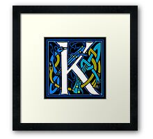 Celtic Peacock Letter K Framed Print