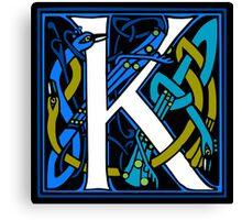 Celtic Peacock Letter K Canvas Print