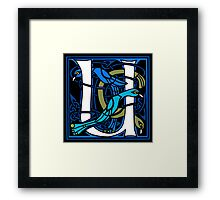 Celtic Peacocks Letter U Framed Print