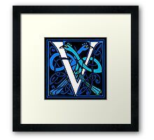 Celtic Peacocks Letter V Framed Print