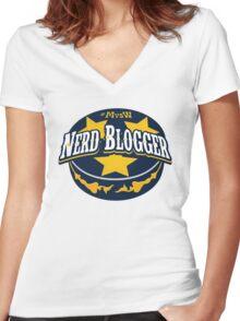 Nerd Blogger! Women's Fitted V-Neck T-Shirt