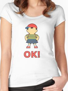NESS | Super Smash Taunts | OK! Women's Fitted Scoop T-Shirt